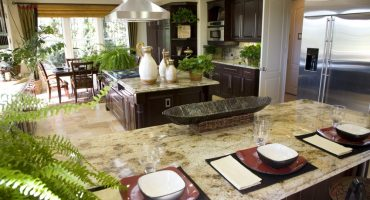 Luxury Kitchen With A Granite Breakfast Counter Countertop