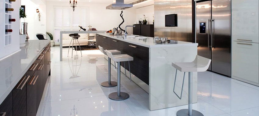 Tips On Matching Your Kitchen Countertop With The Floor And Cabinets Flintstone Marble Granite